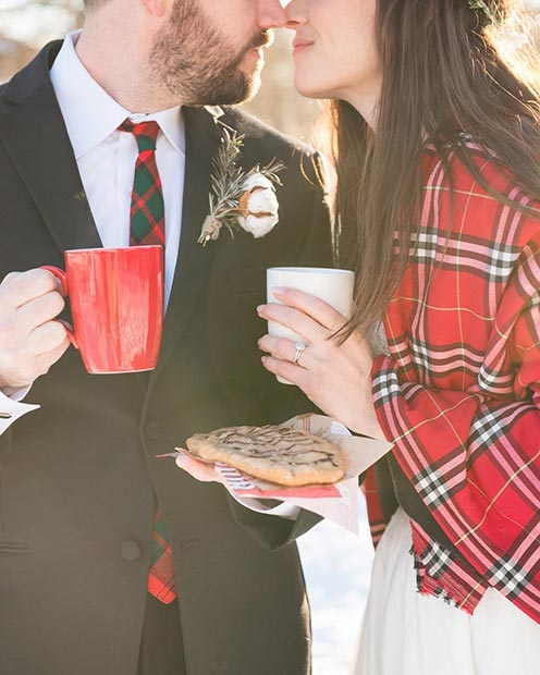 Winter Wedding Cozy Couple Portrait