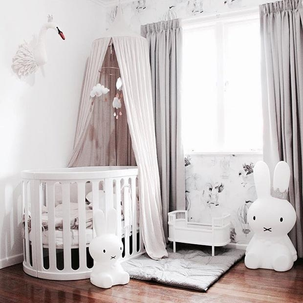 Grey and White Nursery Idea for a Baby Girl