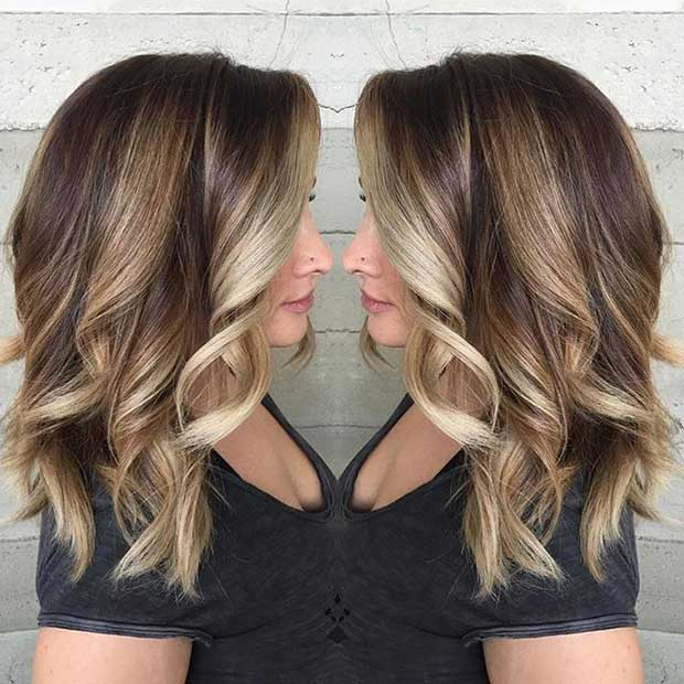 Beige Blonde Highlights on Dark Medium Length Hair