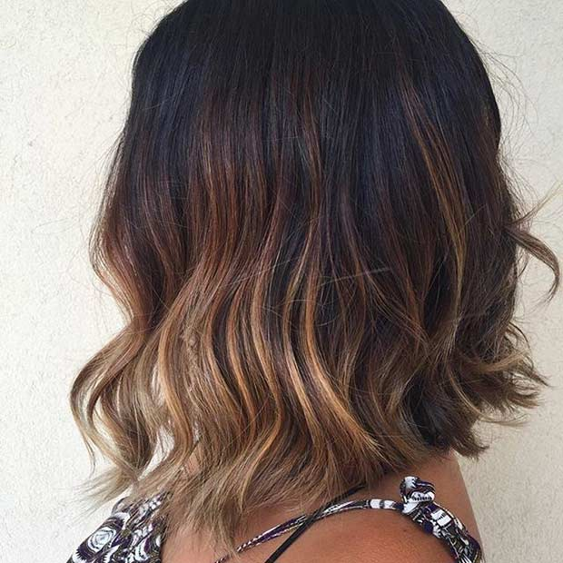 Brunette Lob with Balayage Highlights