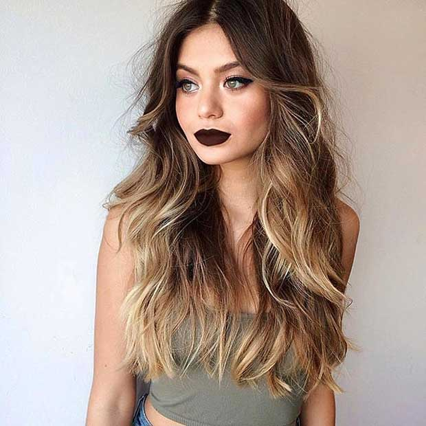 Blonde Color Melting on Dark Hair