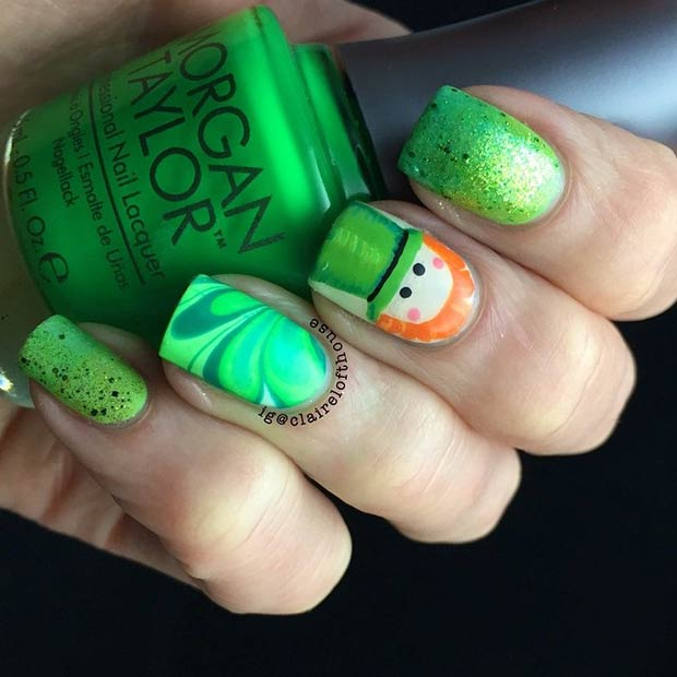 Cute Leprechaun Nail Art Design