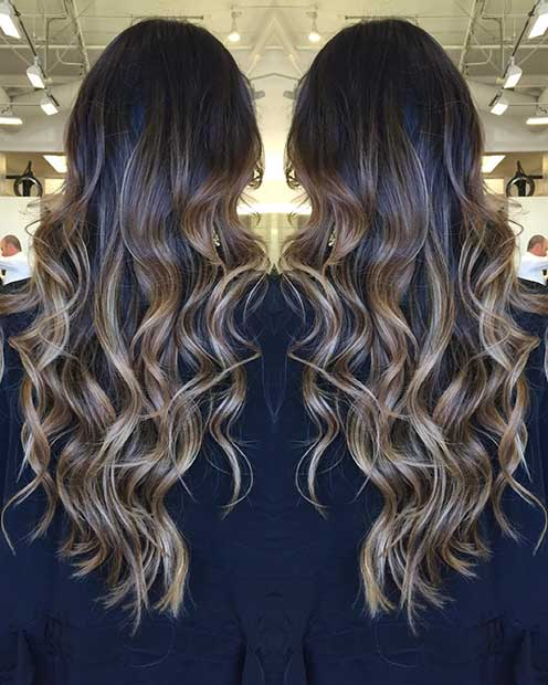 Beige Blonde Balayage on Dark Long Hair