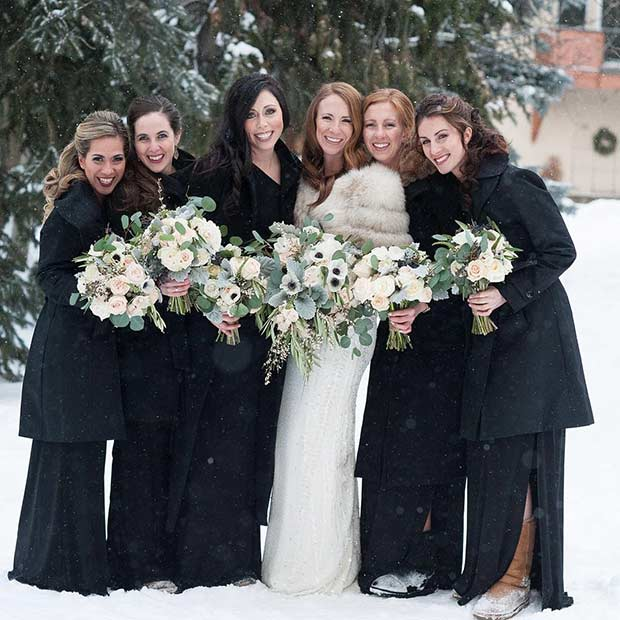 Black Bridesmaid Styles with Boots for a Winter Wedding