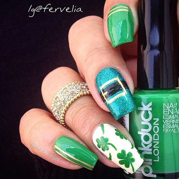 St Patrick's Day Nail Design Idea for Long Nails