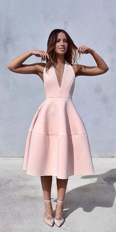Simple Light Pink Prom Dress