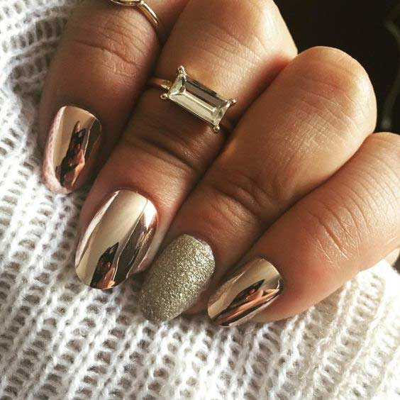 Gold Metallic Chrome Nail Design