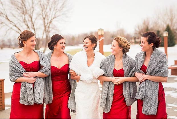 Knitted Scarf Cover Ups for Winter Bridesmaids