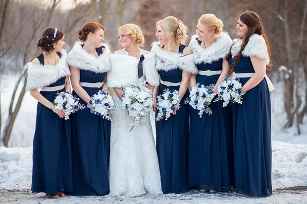 Navy Blue Winter Bridesmaids And White Fur Shawls