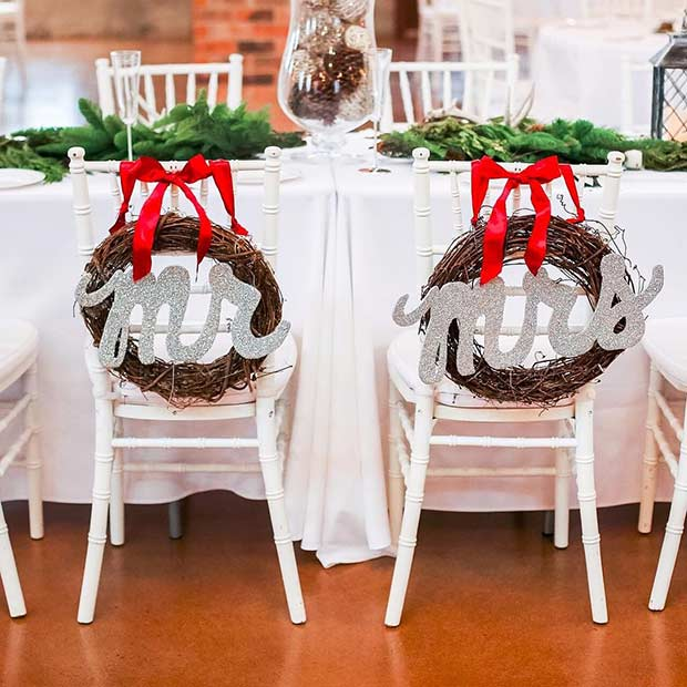 Festive Chair Covers for a Winter Wedding