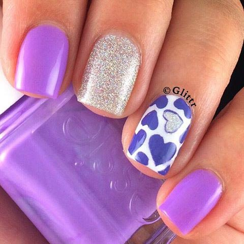 Girly Pink and Purple Heart Nail Design for Valentine's Day