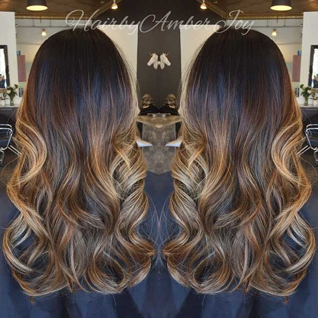 Golden Ribbons of Blonde on Long Brunette Hair