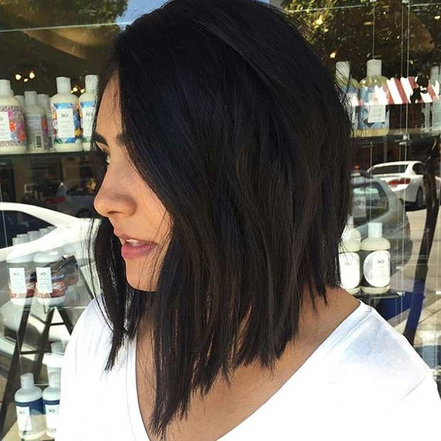Straight Black Angled Lob Haircut Idea