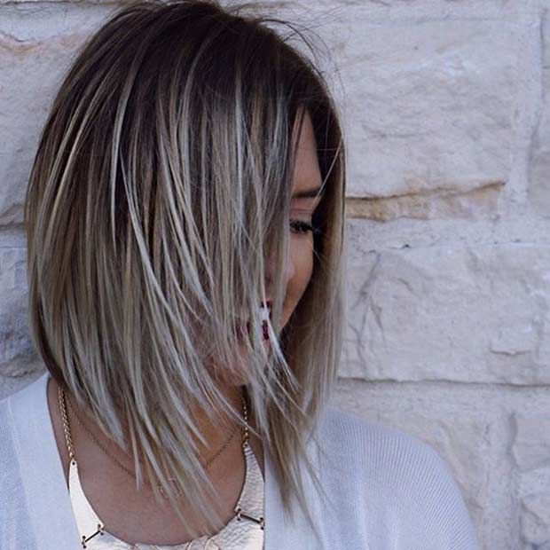 Lob Haircut Idea for Thin Hair with Ice Blonde Highlights