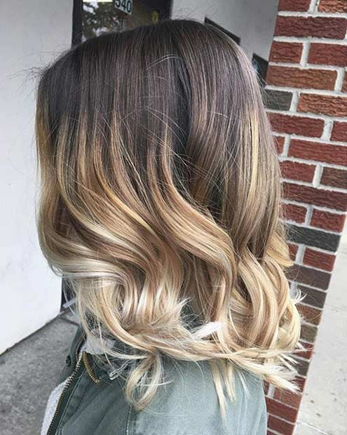 Curly Blonde Ombre Lob Hairstyle