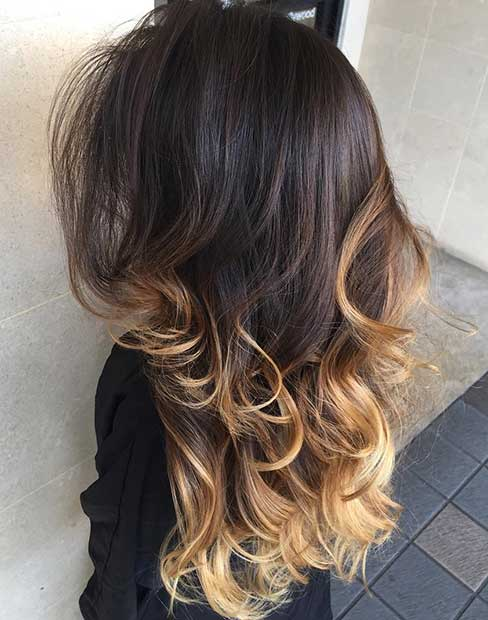 Honey Blonde Highlights on Dark Layered Hair