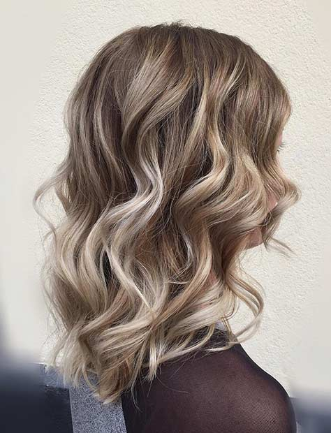 Curly Long Bob Haircut with Blonde Balayage Highlights