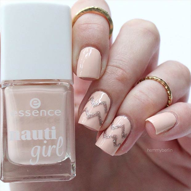 Simple Gold and Neutral Chevron Prom Nails