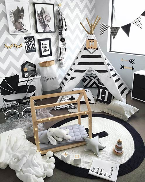 Modern Black and White Playroom Idea for Toddlers
