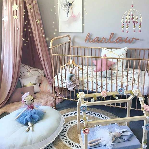 Modern Pink and Gold Nursery for a Girl