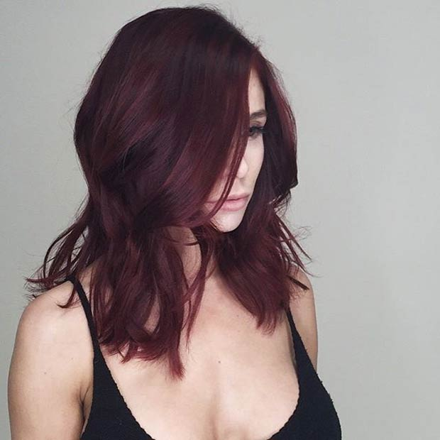Deep Red Long Bob Haircut Idea