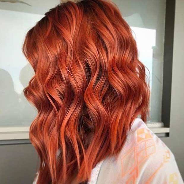 Curly Cinnamon Red Long Bob Hairstyle