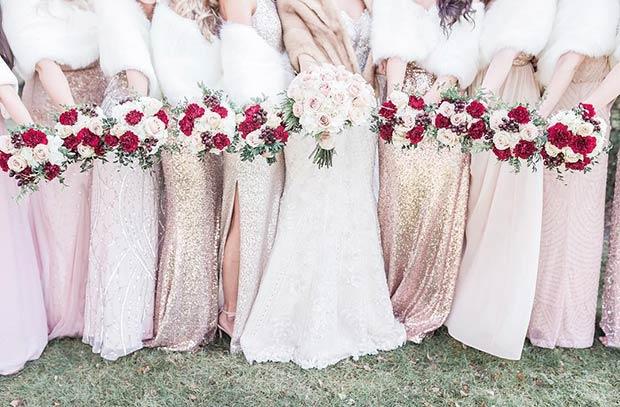 Winter Bridesmaids Sequin Dresses White Fur Shawls