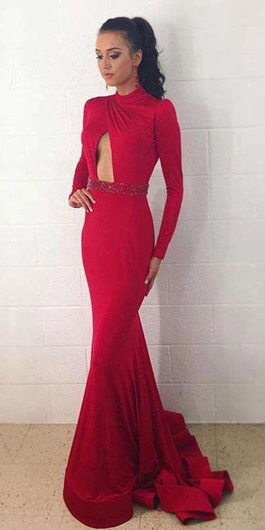 Long Red Prom Dress with Long Sleeves