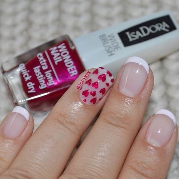 French Tip and Hearts Nail Design for Valentine's