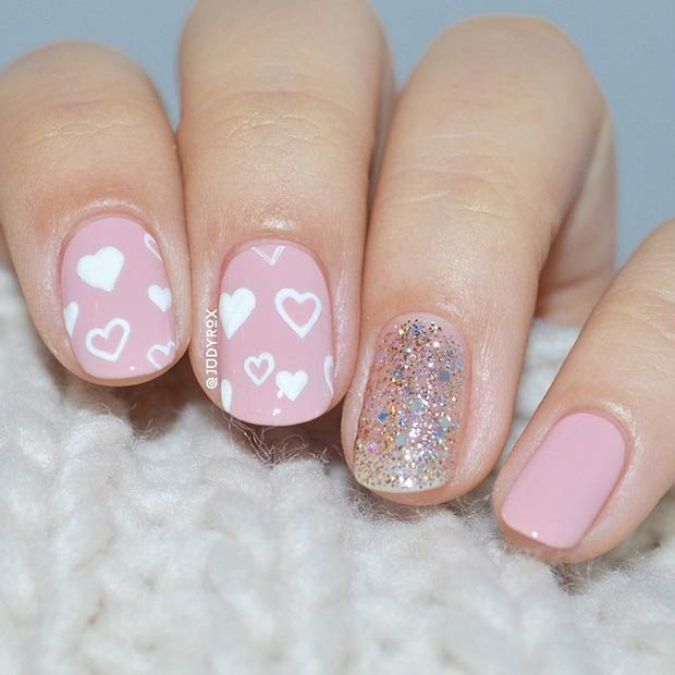 Cute Pink and White Hearts Valentine's Day Nails