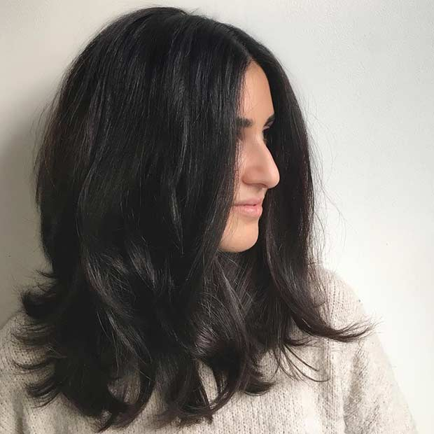 Straight Long Bob Haircut With Layers for Thick Hair
