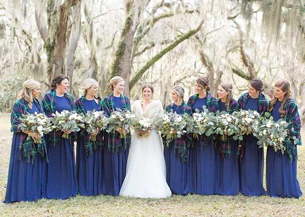 Navy Blue Bridesmaid Dresses and Plaid Cover-Ups