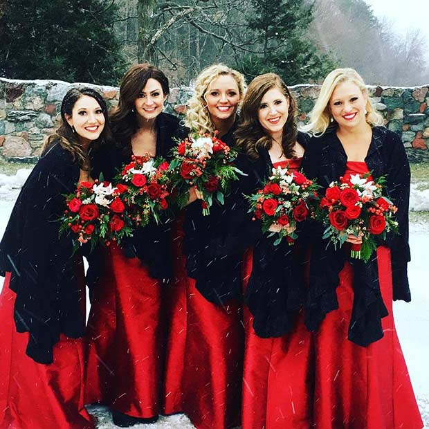 Black and Red Winter Bridesmaid Style