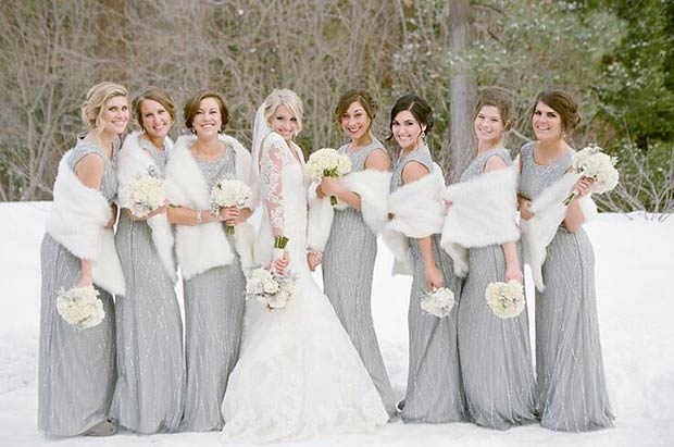 Gray and White Winter Bridesmaid Styles
