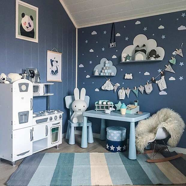 Modern Blue Playroom Idea for Boys