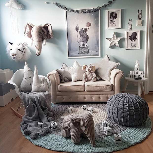 Modern Safari Playroom Idea for Toddlers