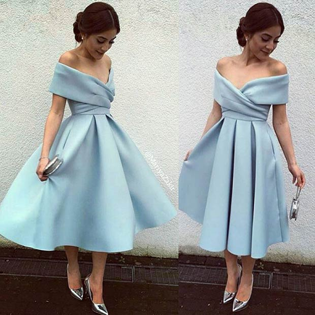 Short Light Blue Off the Shoulder Prom Dress