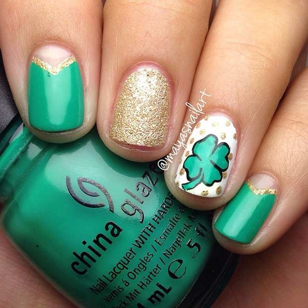 Cute and Simple St Patrick's Day Nails