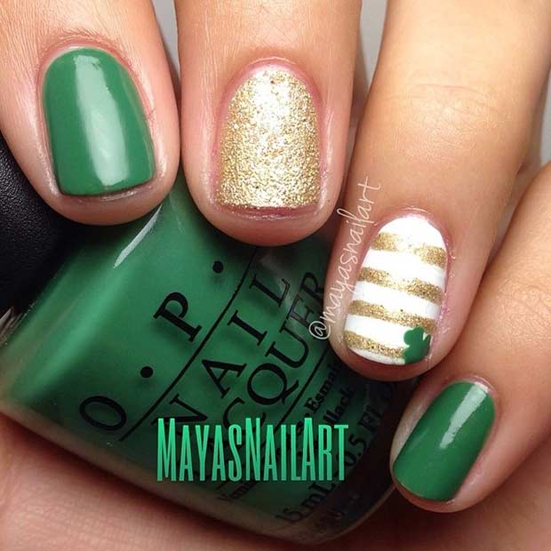 Easy St Patrick's Day Nail Design for Short Nails