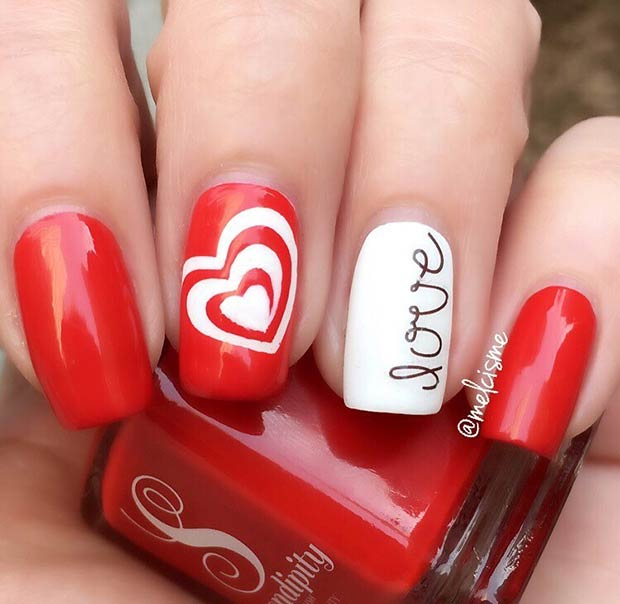 Red Love Nail Art Design for Valentine's Day