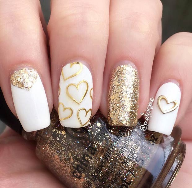White and Gold Valentine's Day Nails
