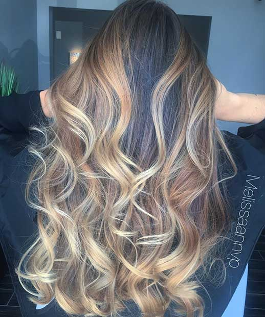 Blonde and Caramel All Over Highlights