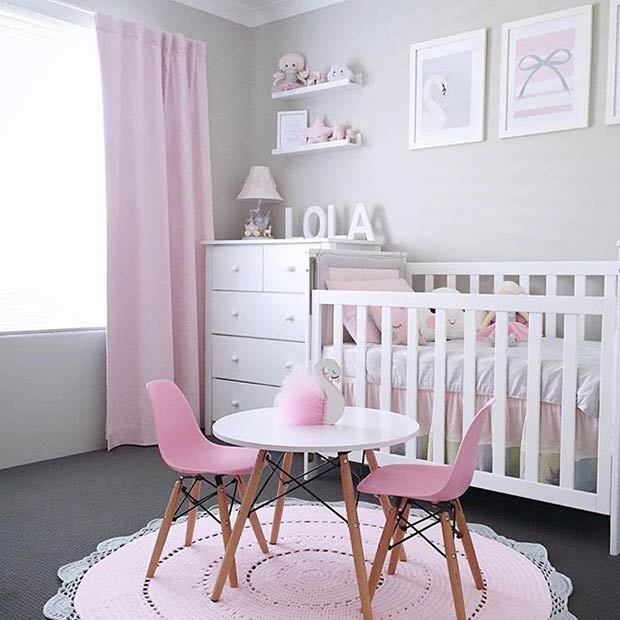 Pink and White Nursery Idea for a Baby Girl