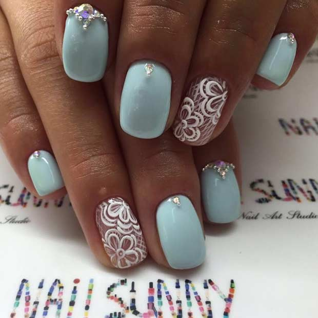 Pastel Blue and White Prom Nails - 23 Elegant Nail Art Designs For Prom 2017 StayGlam