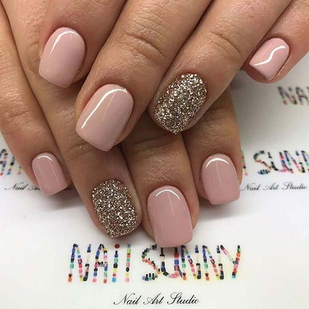 23 elegant nail art designs for prom 2017 stayglam simple neutral and glitter prom nail design for short nails prinsesfo Gallery