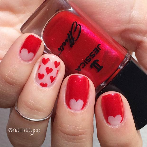 Red Heart Valentine's Day Nail Design for Short Nails