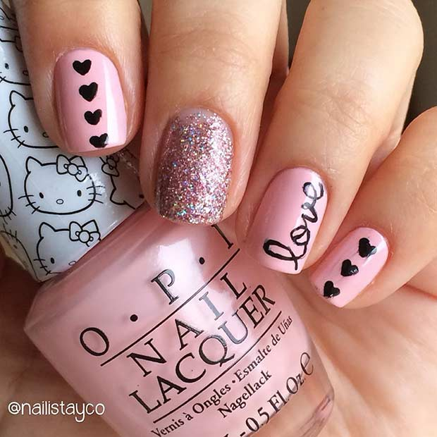 Pink Love Valentine's Day Nail Design for Short Nails