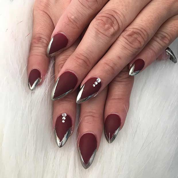 Metallic French Tip Nail Art Design