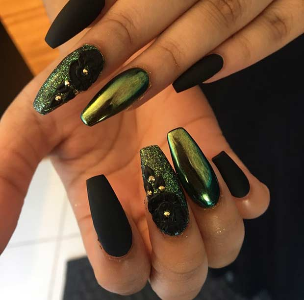 Matte Black and Metallic Green Nails