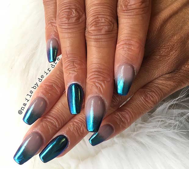 Ombre Blue Metallic Nail Art Design